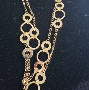 Long gold circle necklace. 30inch long.